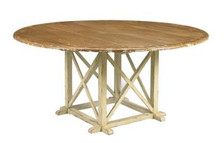 Reproduction Round Oak Planked Pedestal Bosquet Table, Weathered White
