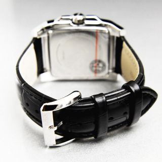 HUGO BOSS H2018 Classic Square Mens Black Leather Watch 1512498 NWT