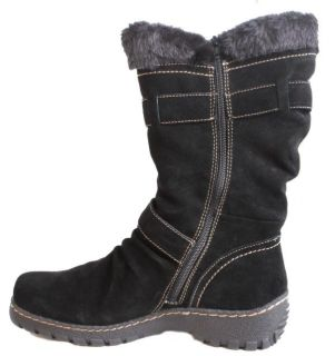 Bare Traps Brandlee Womens Black Suede Mid Calf Boots Medium Width