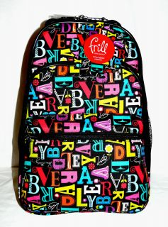 NEW VERA BRADLEY a to vera print LARGE laptop backpack TRAVEL SCHOOL