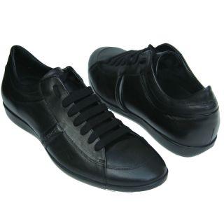 330 Hugo Boss Black Label Leather Sneakers Black Mens Shoes 10 43