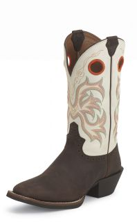 Justin Mens Mocha Cowhide Style 2526 Western Boots Any Sz Med and Wide
