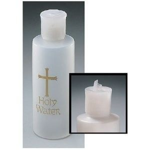 Catholic Christian Holy Water Bottle Gold Cross Holds 4oz