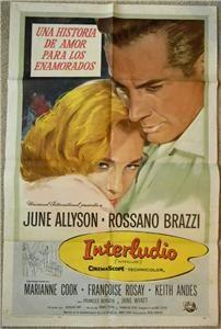 Rossano Brazzi, June Allyson INTERLUDE 1957 Org Movie Poster