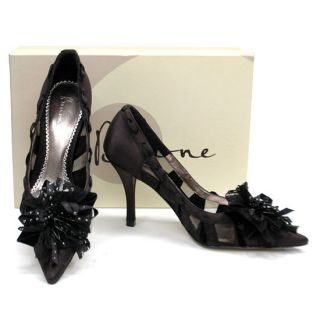 New Bourne Lulu Black Flower Top Satin Dress Heels Pumps Shoes 36