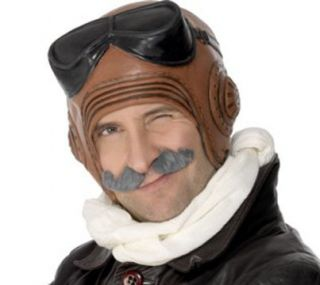 Mens Latex Vintage Fighter Pilot Halloween Costume Hat