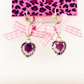 Betsey Johnson Purple Crystal Rhinestone Heart Bow Earrings