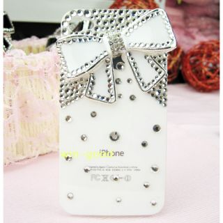 Bow Bling 3D Crystal Pearls Case Cover Skin for iPhone 4 4G 4S Gift