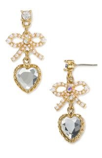 Betsey Johnson Inlaid Rhinestone Crystal Bow Earrings E085