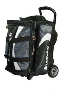 Brunswick Pro Glide Charcoal Black 2 Ball Roller Bowling Bag
