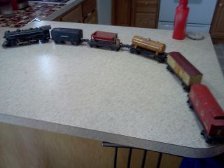 VINTAGE LIONEL 027 LOCOMOTIVE 1666 2689W TENDER 3 CARS CABOOSE TRAIN