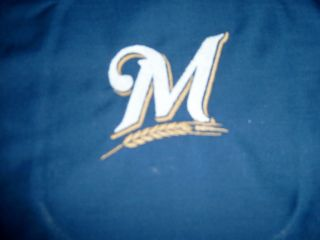 Milwaukee Brewers M Wheat Logo Fabric Quilt Block Baseball