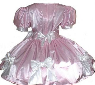 Crossdresser Swiss Maid Dress Pink Satin and Bows Custom Size