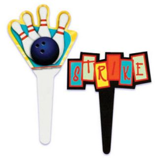 BOWLING CUPCAKE PICKS Cake Decorations Toppers Sports bowl Party