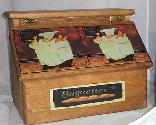Bread Box Solid Hard Wood Fat Chef Bistro Waiter Kitchen Stained