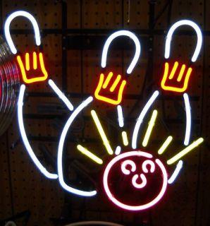 Bowling Pins ball neon sign bowl Gameroom art Open wall lamp light