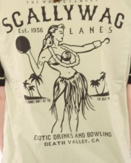 lucky 13 scallywag hula girl bowling shirt retro mens shirt