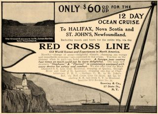 1911 Ad Bowring Red Cross Line Cruise Watercraft SHIP Original