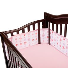 New Breathable Baby Breathable Mesh Crib Liner Light Pink Floral Pink
