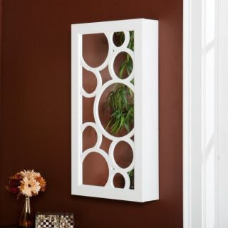 NEW BRIANNA WALL MOUNT JEWELRY STORAGE ARMOIRE CABINET MIRROR WHITE