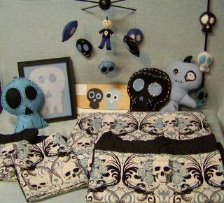 Boys Baby Skull Punk Crib Toddler Bed Bedroom Set Decor Comforter