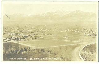 Montana Bozeman Birdseye View C 1915 RP Postcard