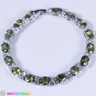 Huge Green Peridot Silver 168JEWELRY Bracelet B534