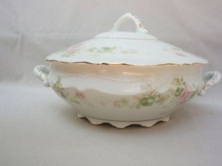 Antique O EG Royal Austria Roses China Handled Serving Bowl Casserole