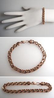 Inch Multi Link Chain Bracelet Solid 14K Rose Gold skuwm7951