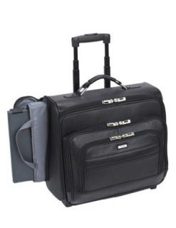 Solo Business Briefcases Leather Dual Access Rolling Computer