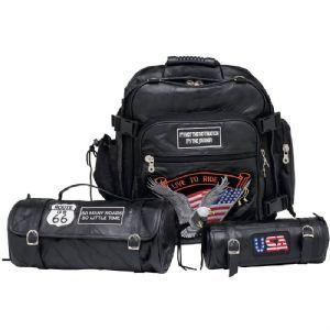 Rock Design Genuine Buffalo Leather Motorcycle Bag Set LUMCBP2