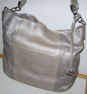 Brighton Tyger Leather Hobo Handbag Purse Sterling Gray Silver Free