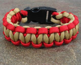 550 Paracord Survival Bracelet Desert Tan Red Marine Corp Braclet Para