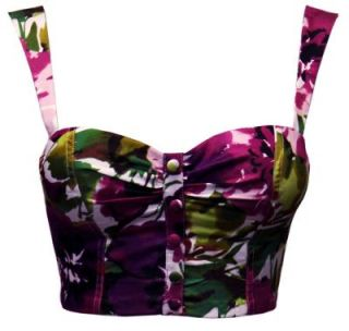 Womens Ladies Button Detail Floral Crop Bralet Top UK Size 6 14