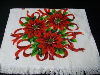 Vintage 50s Christmas Poinsettia Bright Hand Towel Cotton Cannon