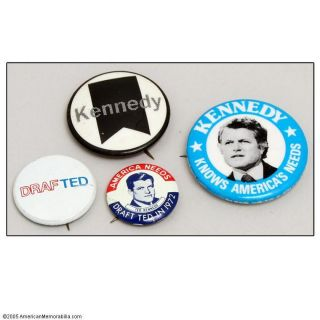 1970s Vintage Ted Kennedy Campaign Political Pin Buttons Lot of 4