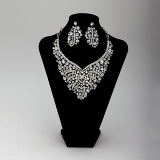 Crystal Wedding Bridal Jewelry Necklace Earrings Set