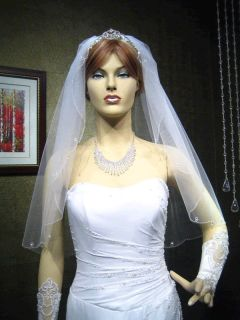 wedding bridal veil 1t elbow swarovski crystals edge white best