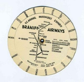 braniff airways 1936 chicago wheel time table