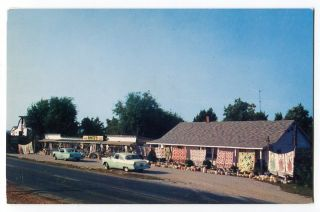 091612s Branson MO Roadside Postcard 1950s Autos Rantzs Gift Shop