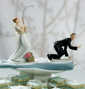 Gone Fishing Wedding Cake Topper Bride Groom Set New in Package