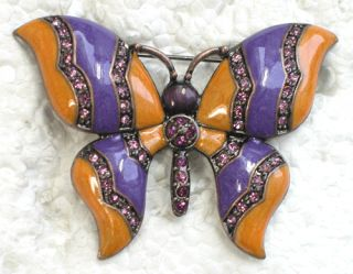 Purple Rhinestone Crystal Butterfly Pin Brooch C279