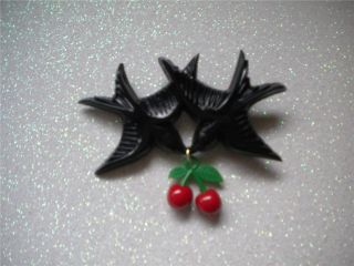 BLACK SWALLOW CHERRY BROOCH VINTAGE PINUP ROCKABILLY SWALLOW