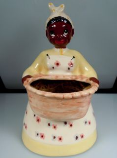 Vintage Brayton Laguna Pottery Black Americana Mammy Planter