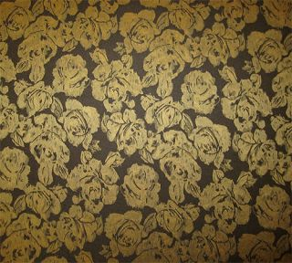 New Gold Black Floral Brocade Upholstery Fabric