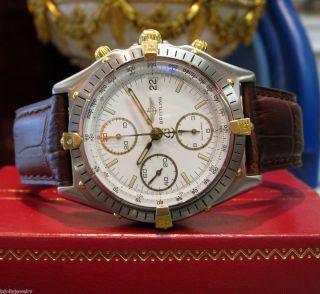 MENS BREITLING CHRONOMAT CHRONOGRAPH TWO TONE YELLOW GOLD STAINLESS