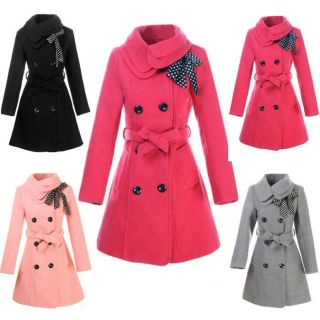 Double Breasted Women Winter Coat Lady Long Bowknot Belted Jacket Girl