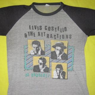 1982 Elvis Costello Vtg Tour Jersey Burnout T Shirt