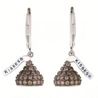 Kiss Chocolate Brown Diamond Leverback Earrings 14k White Gold