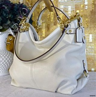 Coach Stunning White Brooke Large Leather Limited Style Hobo Tote Bag